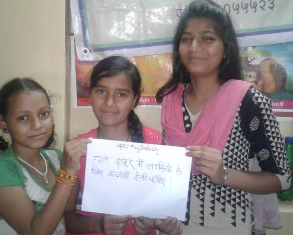 These amazing girls we're working with in Indira Nagar, Jogeshwari (E) in partnership with Vacha Charitable Trust say, their safe city will have freedom for girls.